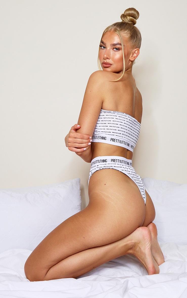 PRETTYLITTLETHING - Ensemble lingerie blanc imprimé string & bandeau 2