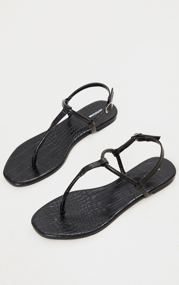Black Toe Post Sandals 3