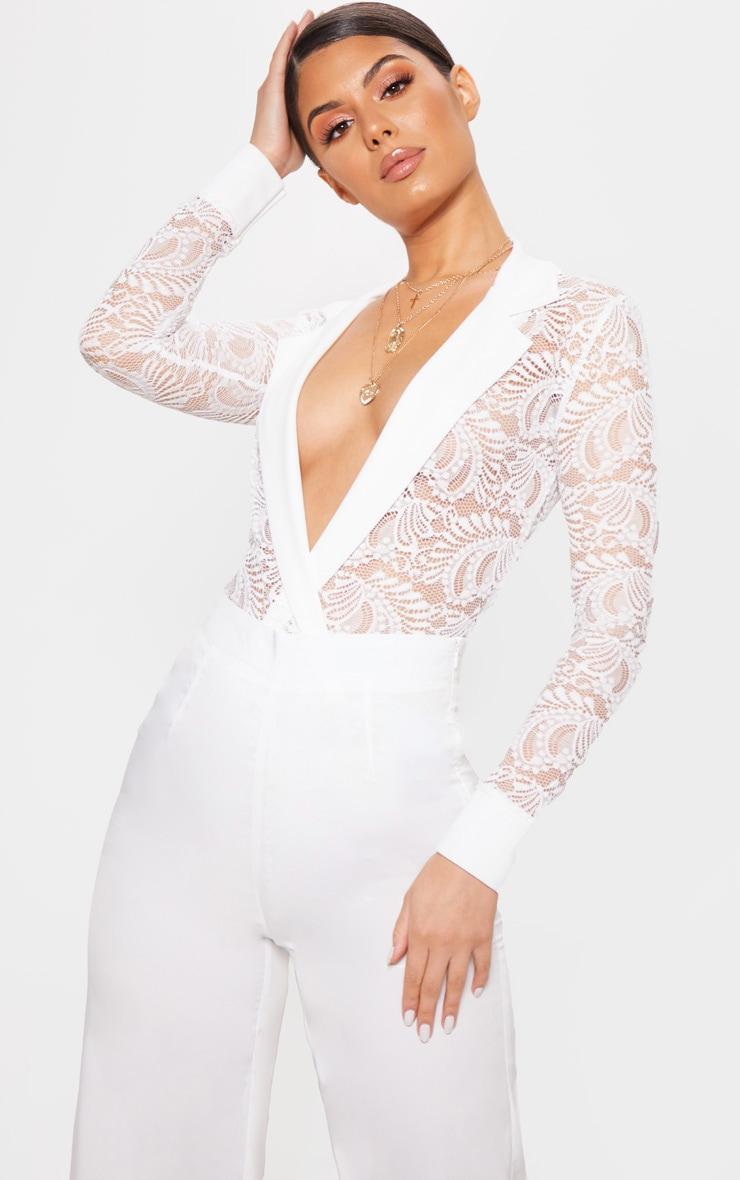 White Lace Longsleeve Collar Detail Bodysuit  1