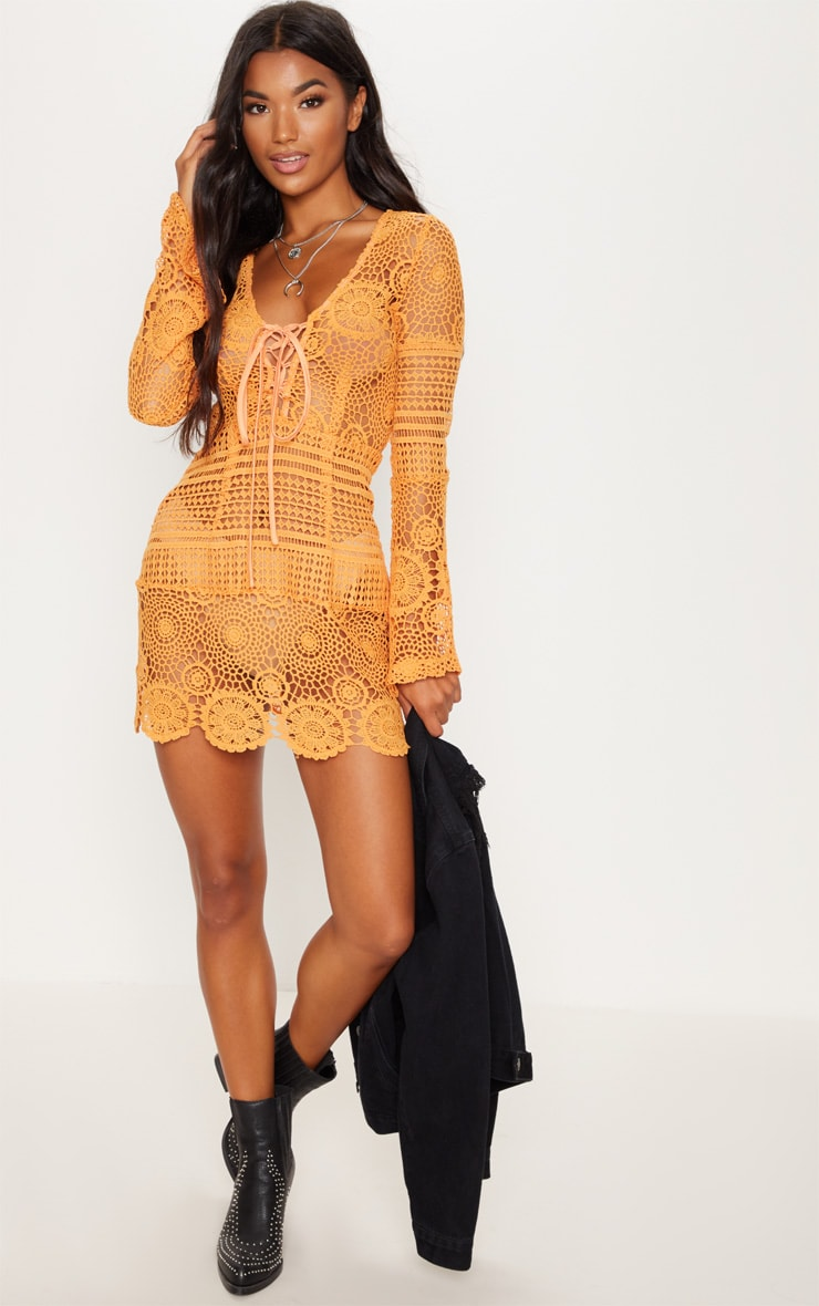 Tangerine Tie Front Flare Sleeve Crochet Lace Bodycon Dress 4