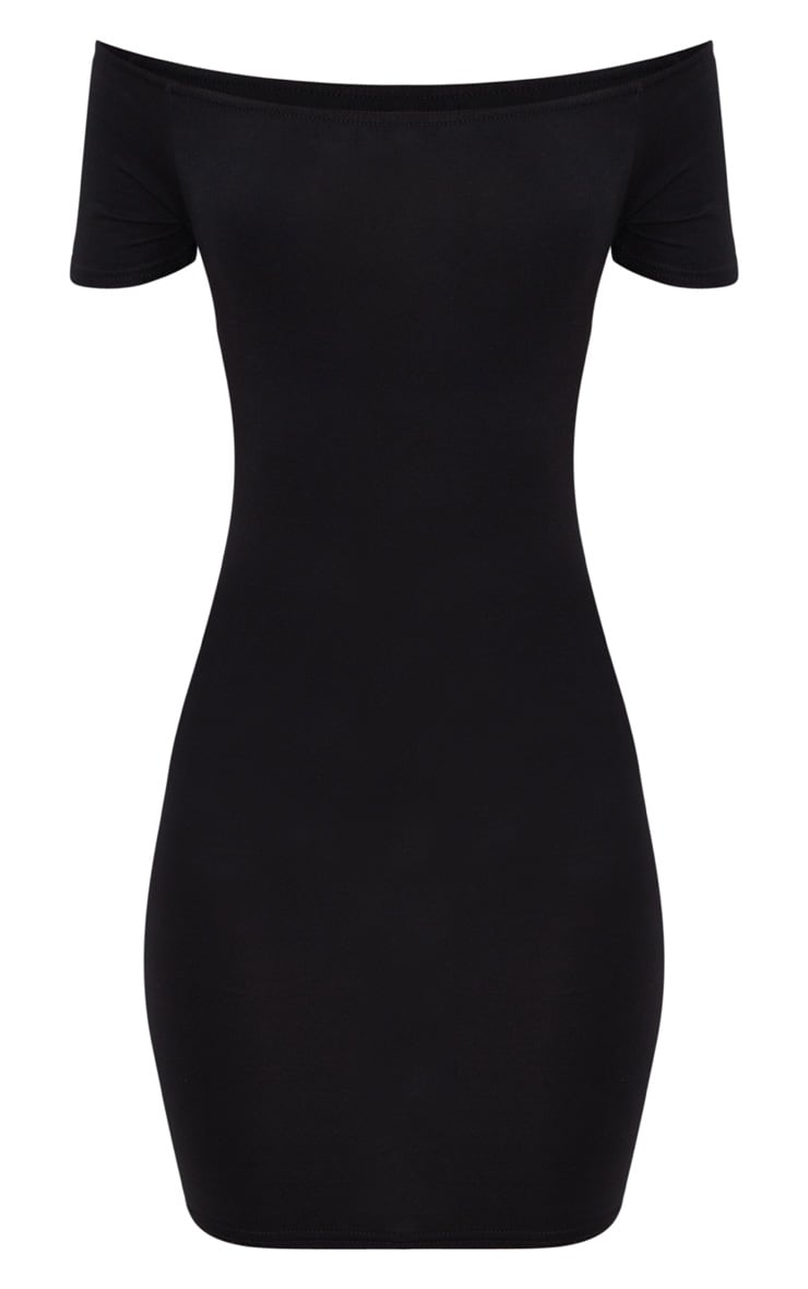 Basic Black Short Sleeve Bardot Bodycon Dress 3