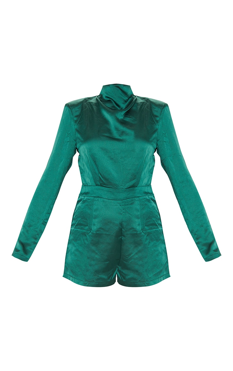 Emerald Green Draped Neck Shoulder Pad Playsuit 5