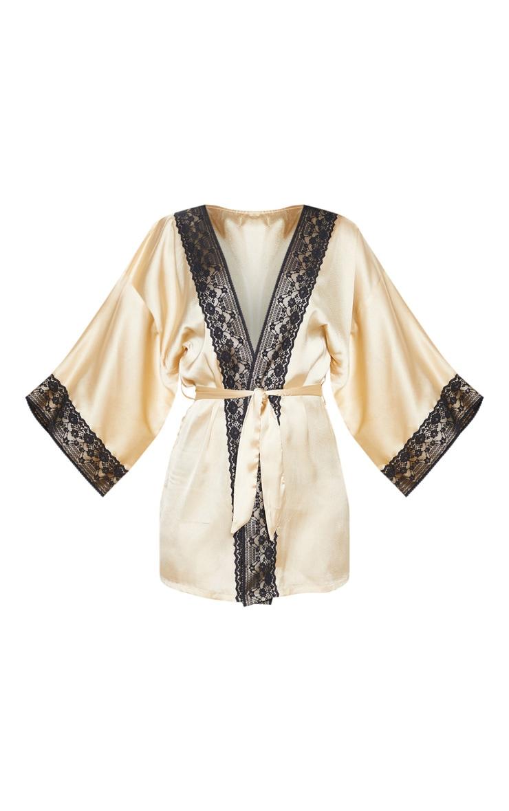 Champagne Lace Trim Satin Robe 3