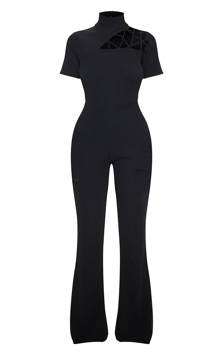 Black Cut Out Shoulder Ribbed Detail Jumpsuit 3