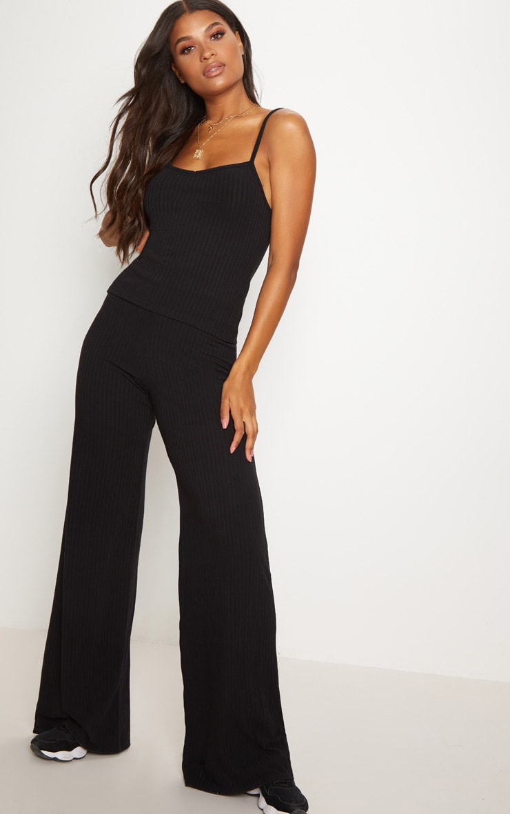 Black Rib Knit Wide Leg Trousers