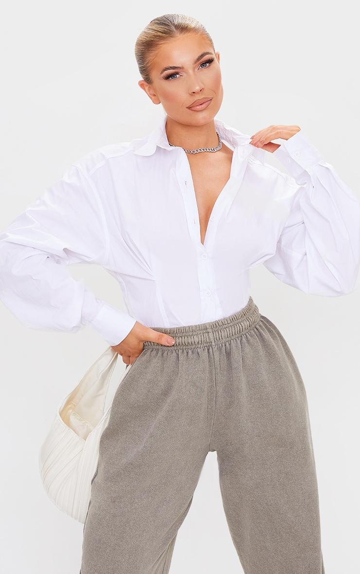 White Poplin Fitted Detail Long Sleeve Shirt 1
