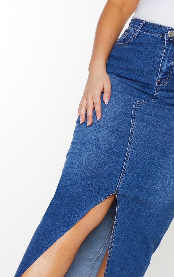 Plus Light Wash Denim Split Hem Midaxi Skirt 4