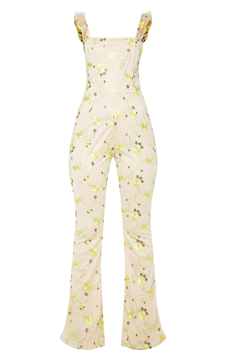 Yellow Floral Embroidered Sleeveless Flared Leg Jumpsuit 3