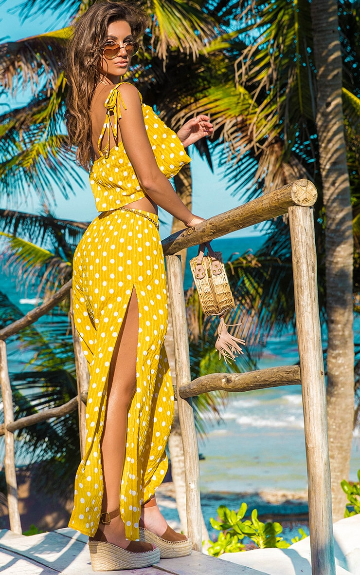 Mustard Cheesecloth Polka Dot Wide Leg Trousers