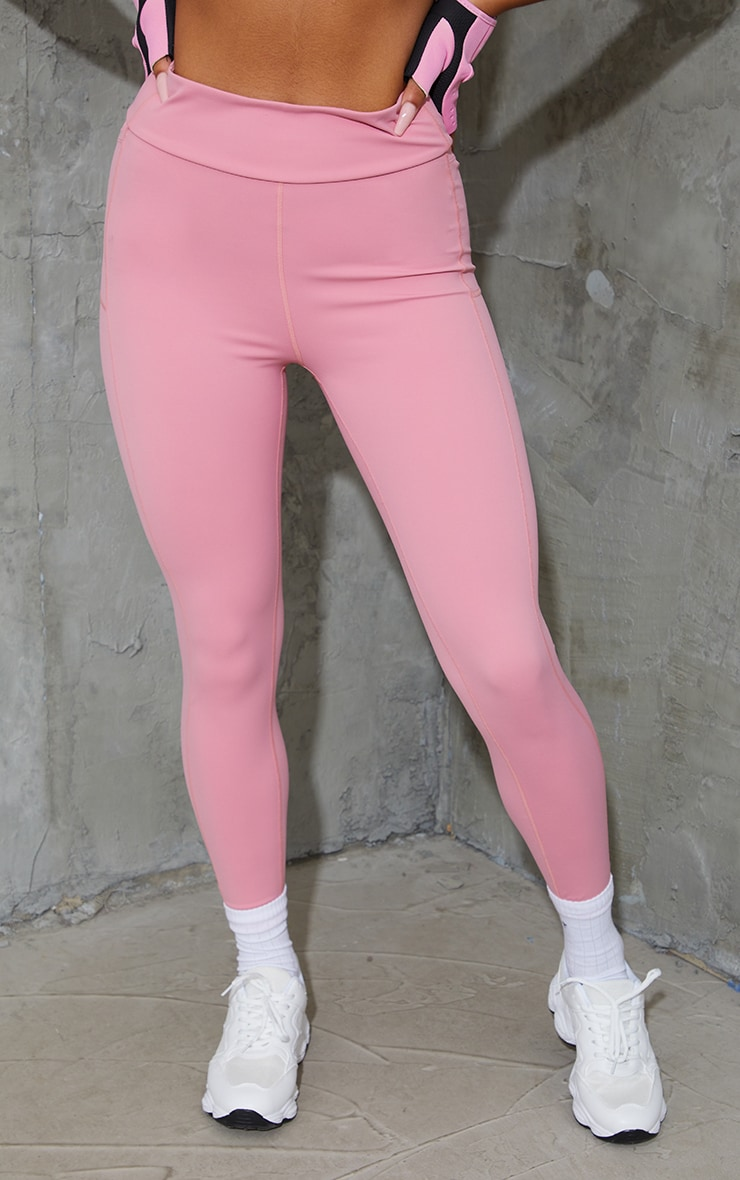Pink Super High Waist Pocket Detail Gym Leggings 2