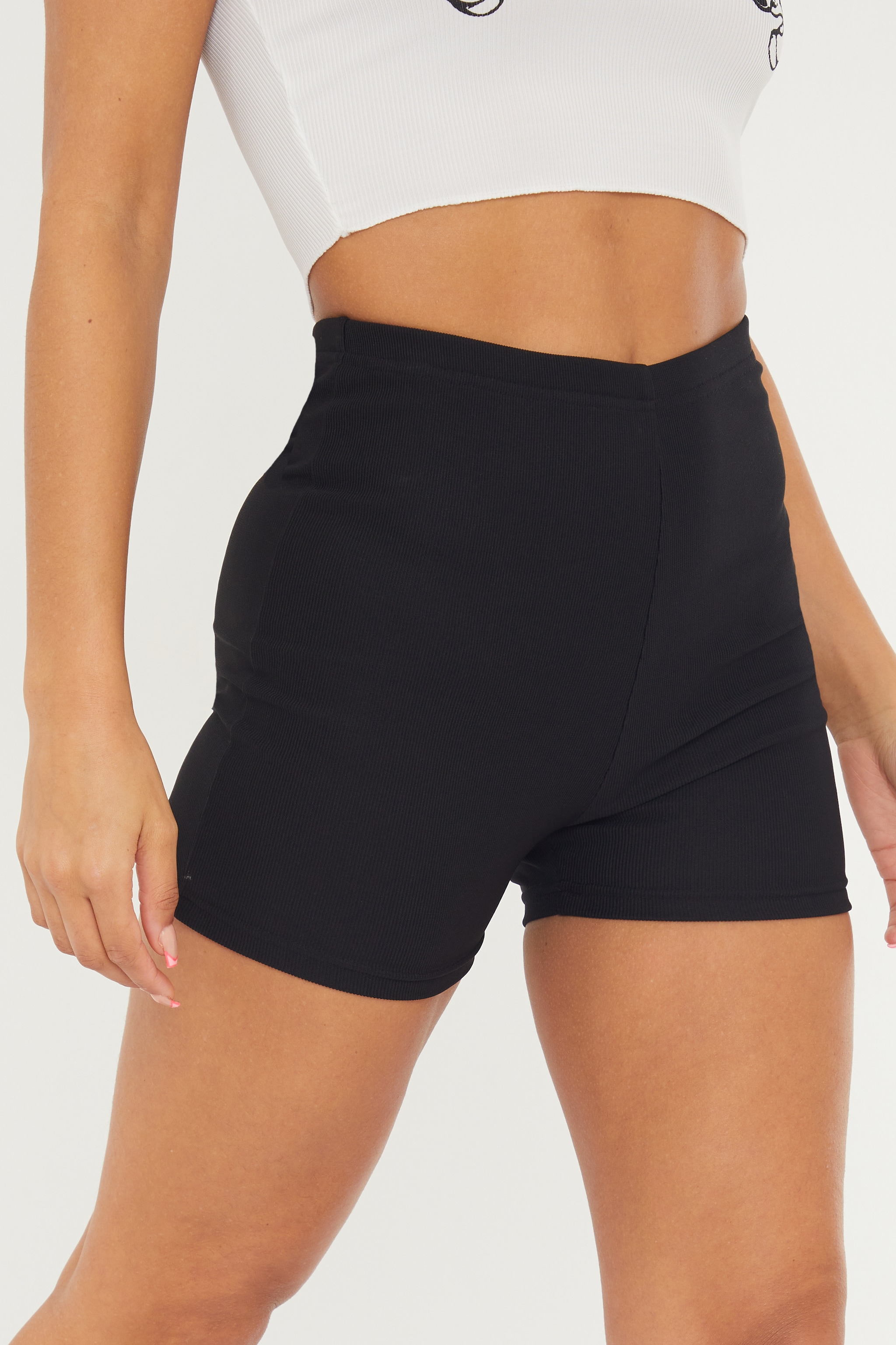 Black Power Stretch Rib Hotpants 5