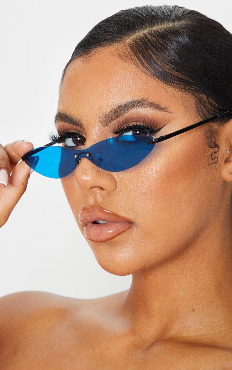 Neon Blue Tinted Frameless Slim Cat Eye Sunglasses 1