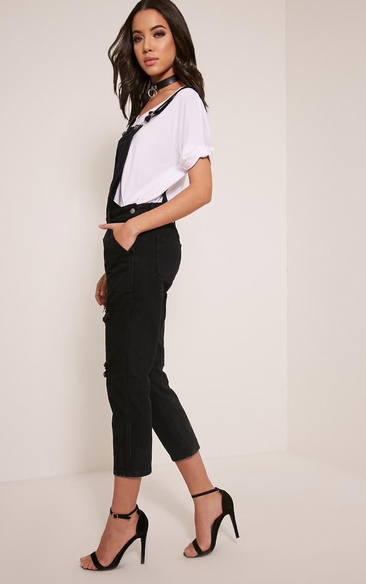 Carla Black Extreme Rip Cropped Denim Dungarees 4