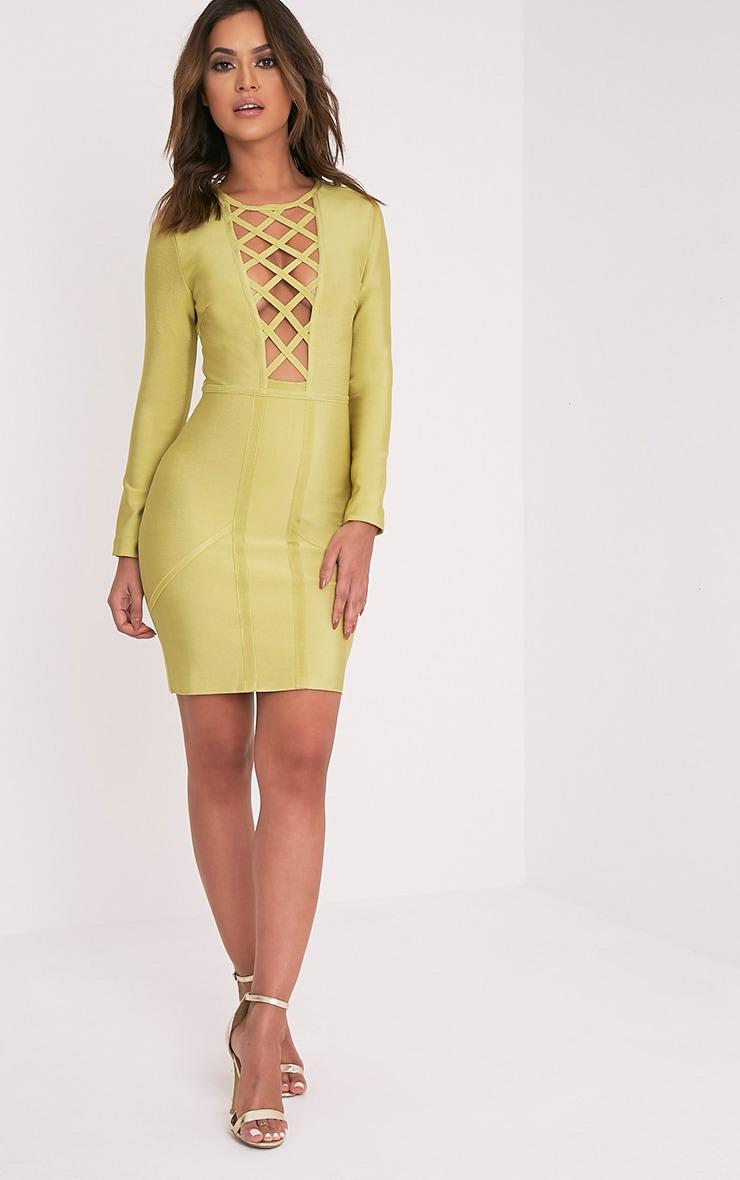 Livia Dark Lime Lattice Bandage Bodycon Dress 5