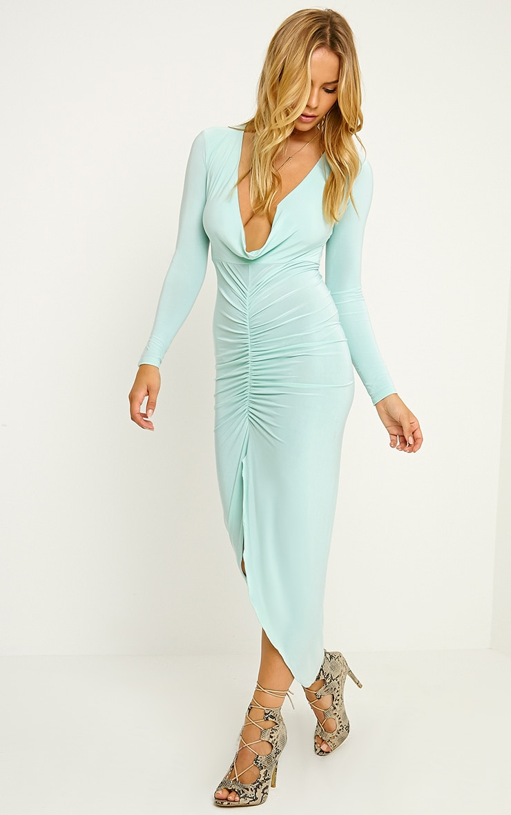 Ellie Mint Slinky Ruched Maxi Dress 3