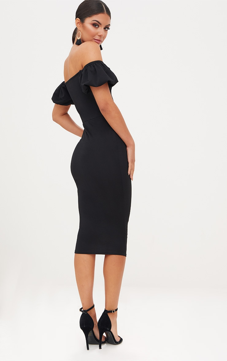 Black Balloon Sleeve Bardot Midi Dress 2