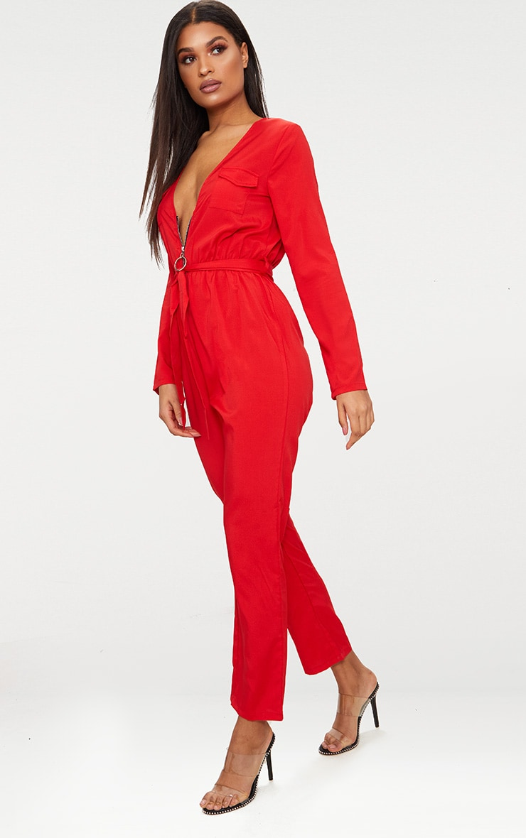 Red O Ring Zip Utility Jumpsuit 1