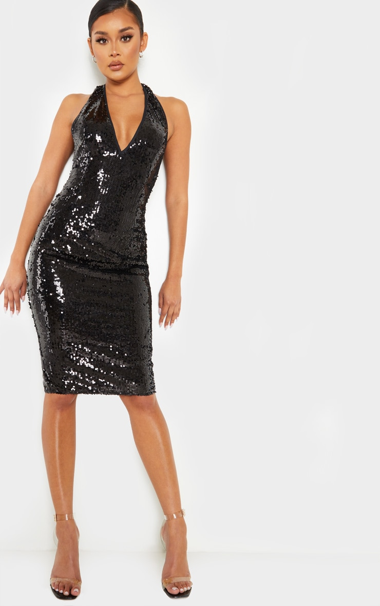 Black Sequin Midi Dress 2