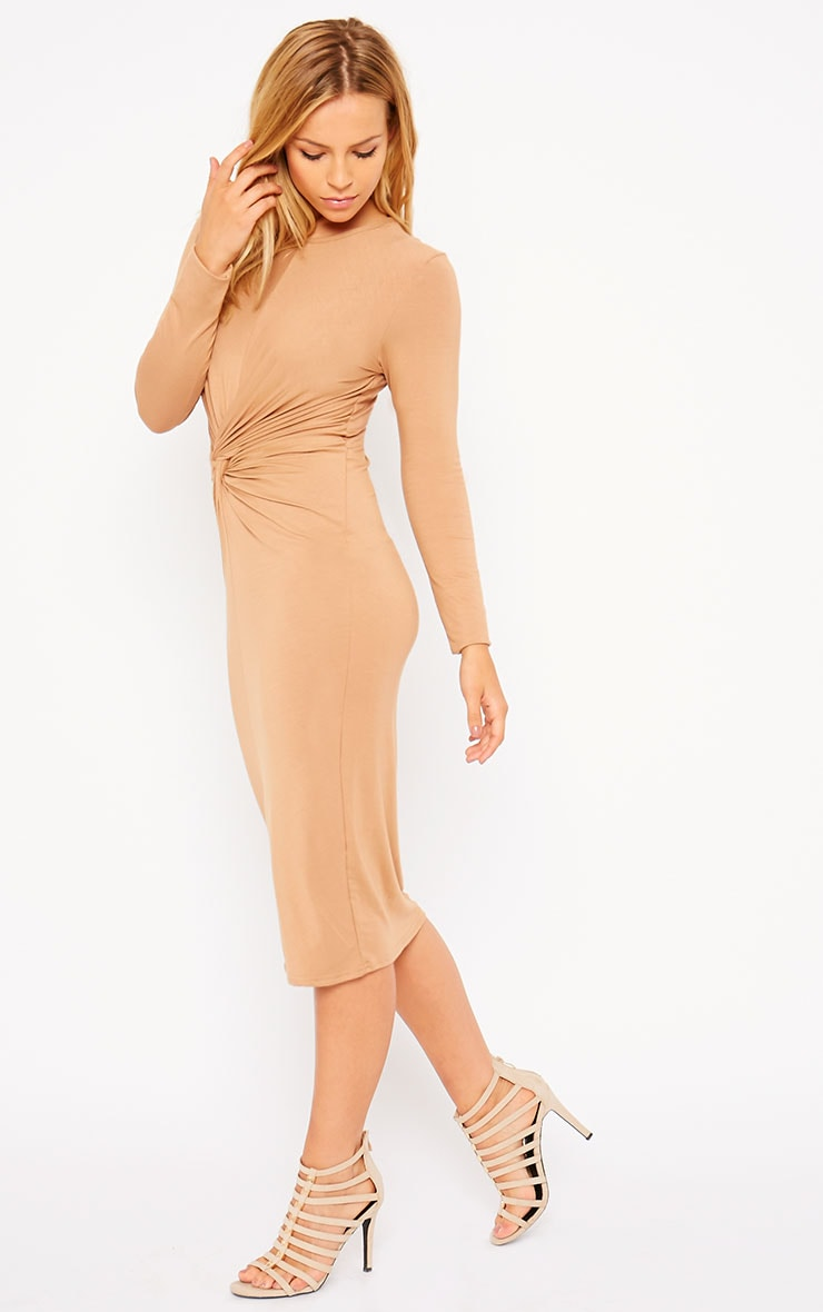 Kenna Camel Knot Front Midi Dress 3