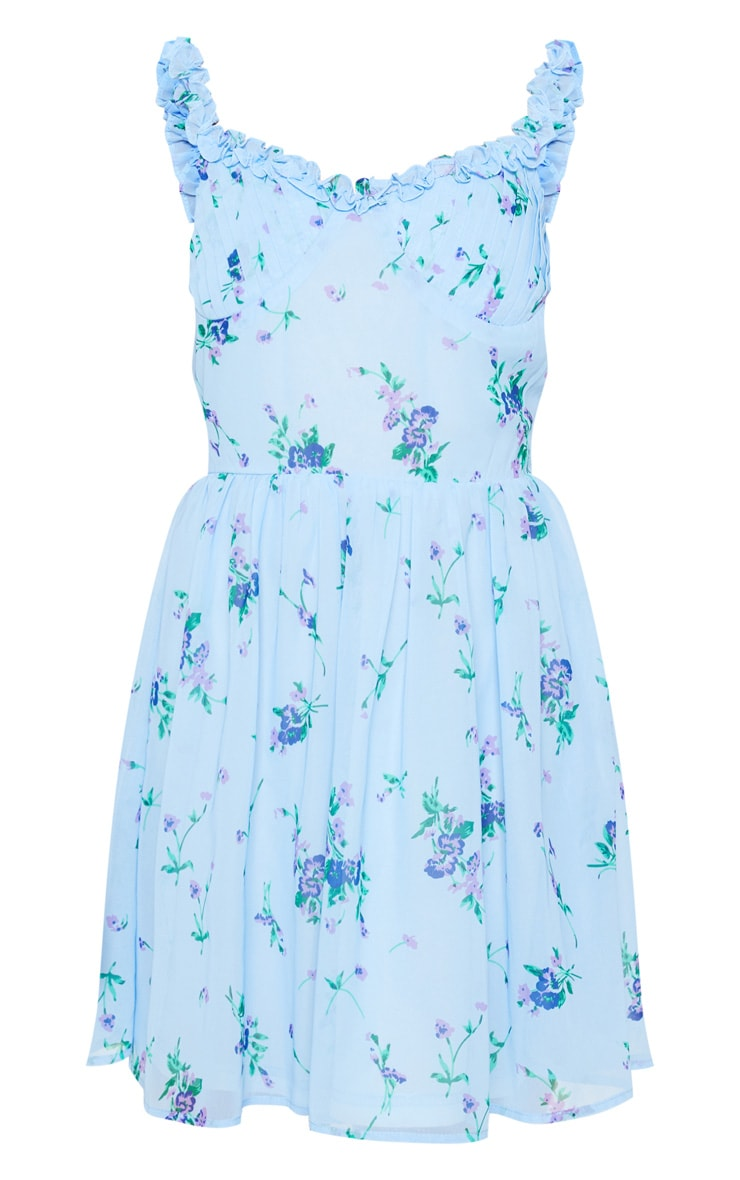 Blue Floral Print Strappy Skater Dress 5