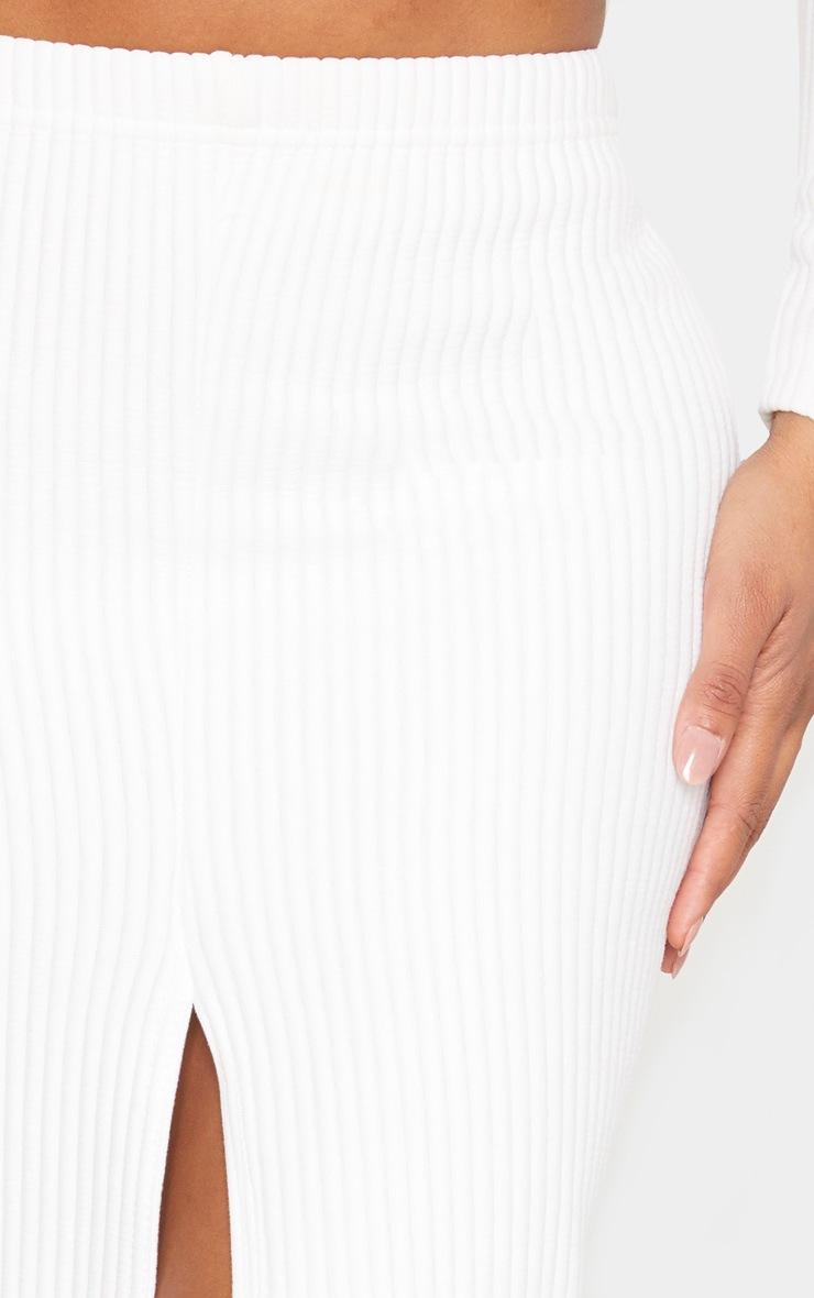 Shape Cream Jumbo Rib Split Front Midaxi Skirt 4