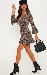 Chocolate Brown Polka Dot Leopard Print Frill Wrap Tea Dress 4