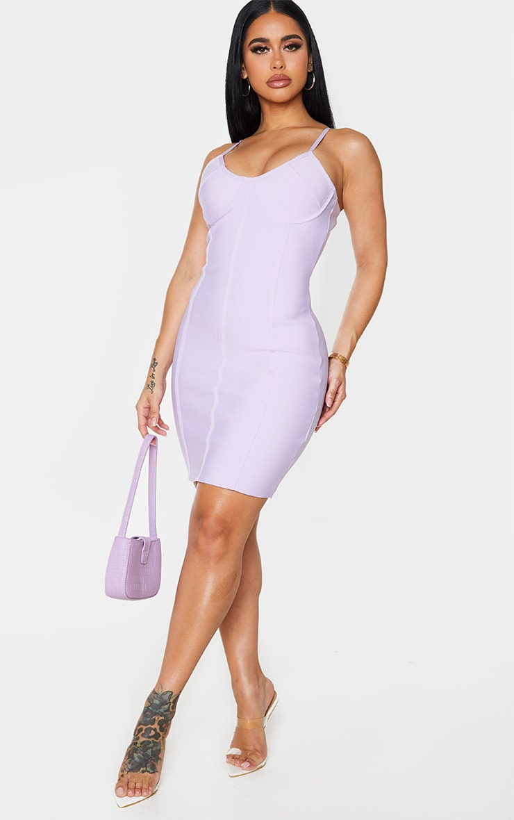 Shape Lilac Bandage Cup Detail Binding Bodycon Dress 3