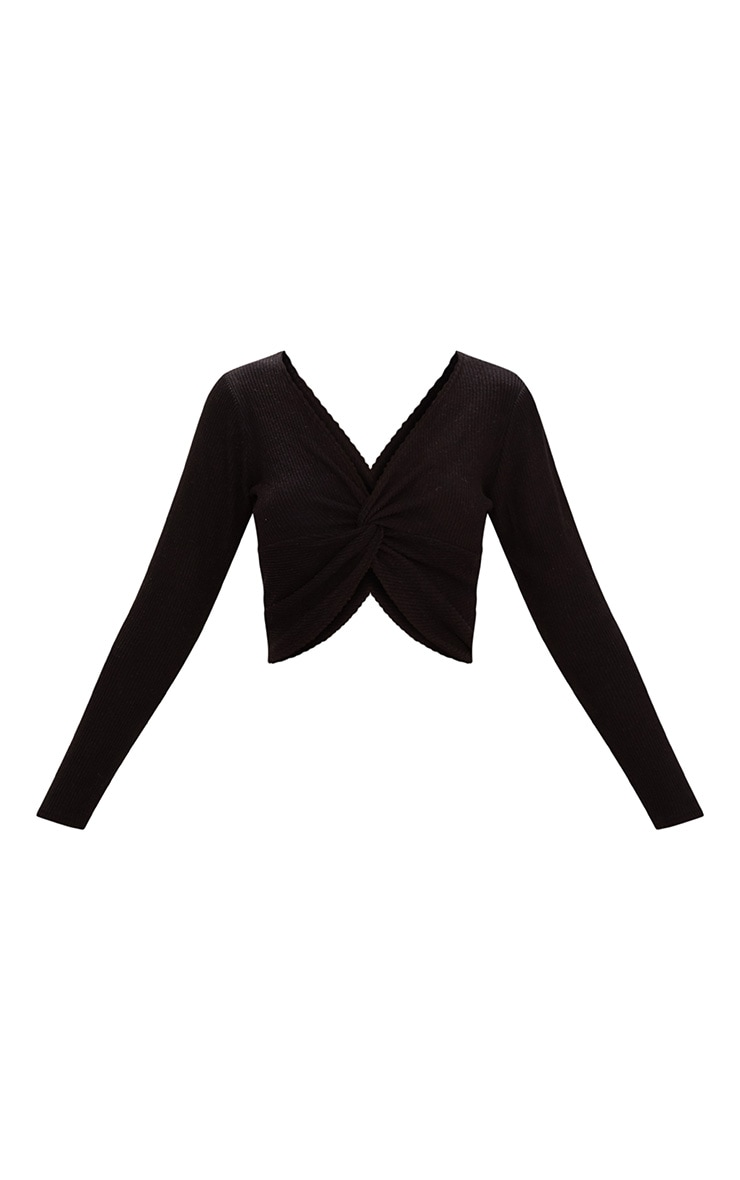 Black Brushed Rib Twist Front Crop Sweater 3