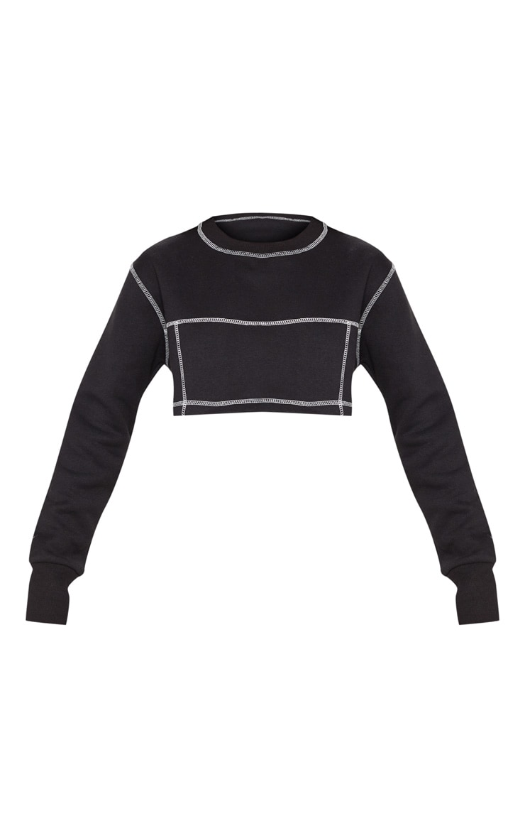Black Contrast Stitch Crop Sweatshirt 3