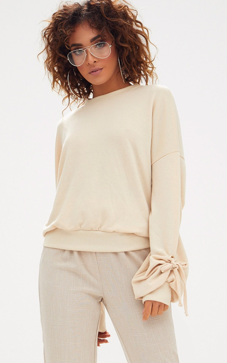 Sand Oversized Tie Cuff Detail Sweater 1