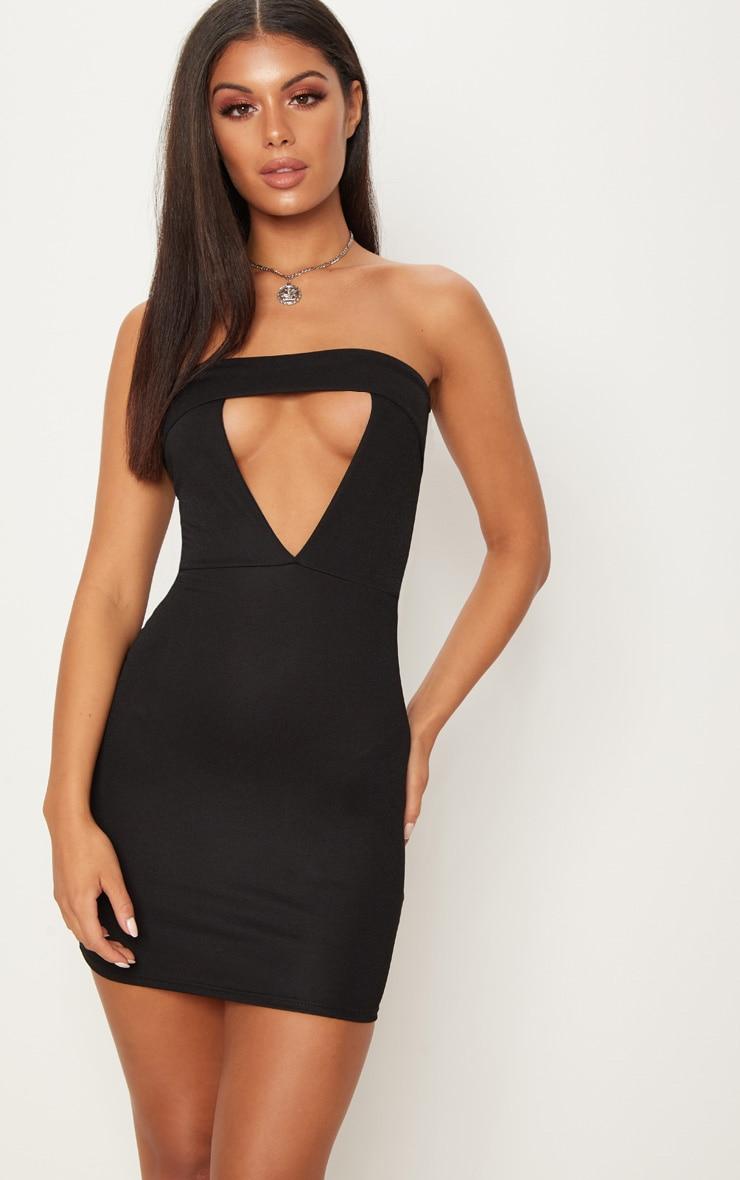 Black Bandeau Fold Detail Bodycon Dress 1