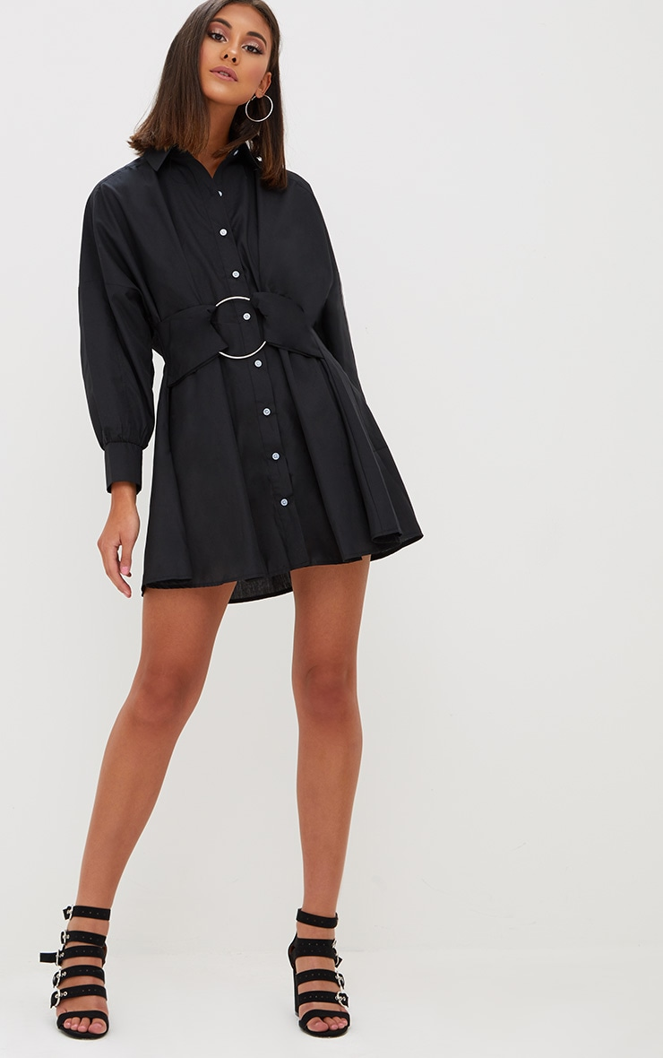 Black Ring Detail Shirt Dress 4