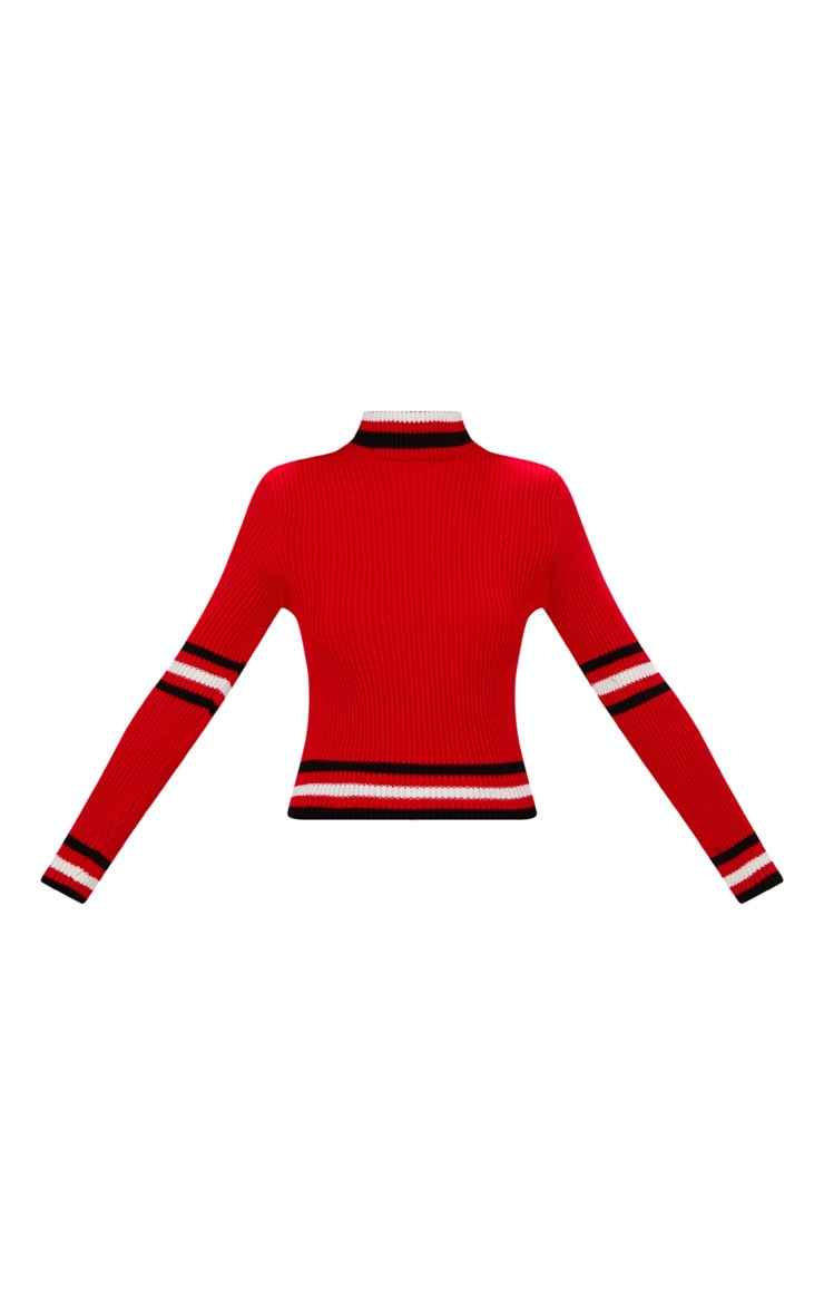 Red Sports Stripe Roll Neck Jumper 3