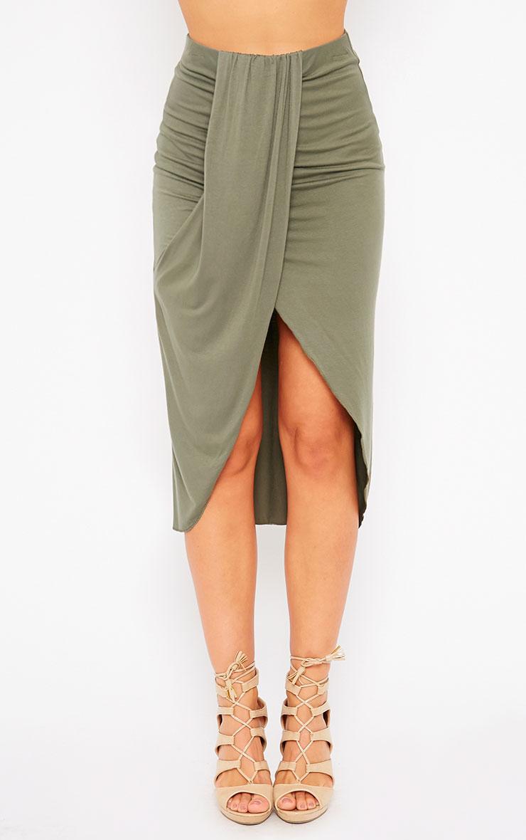 Ivana Khaki Drape Midi Skirt 2