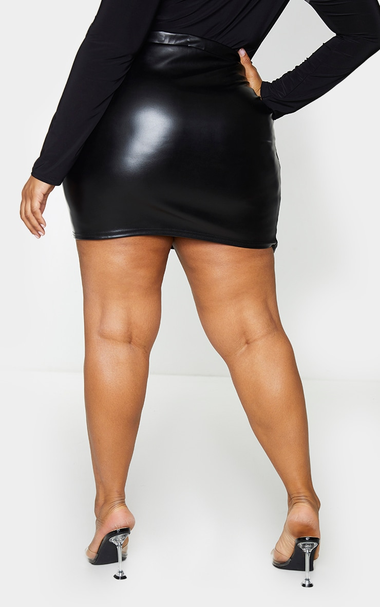 Plus Luisa Black Faux Leather Wrap Mini Skirt 3