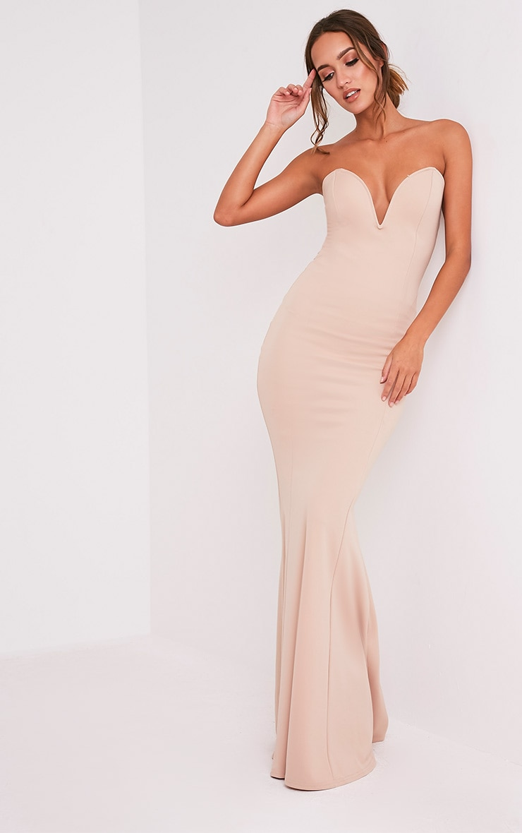 Wendie Nude Sweetheart Fishtail Maxi Dress 1