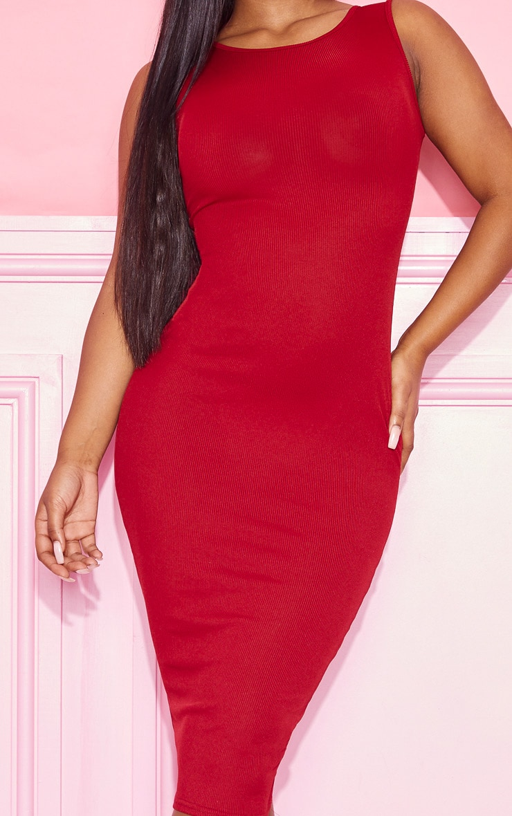 Burgundy Ribbed Midi Dress 5