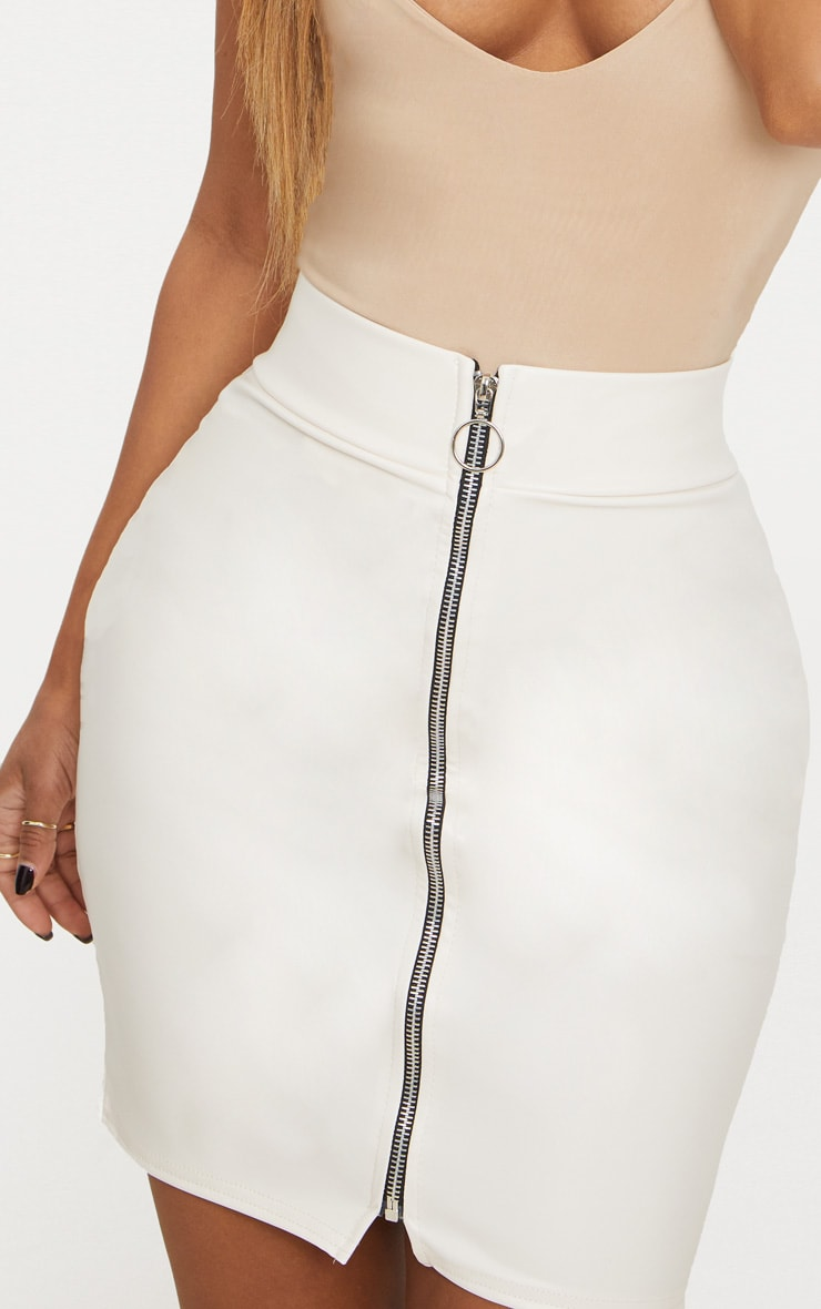 Shape White Zip Front PU Mini Skirt 6