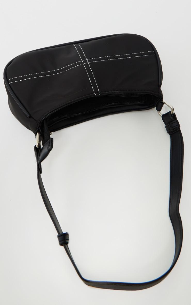 Black Exposed Stitch Shoulder Bag 2