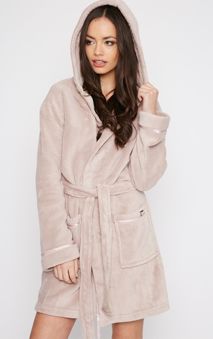 Erin Taupe Fleece Dressing Gown  1
