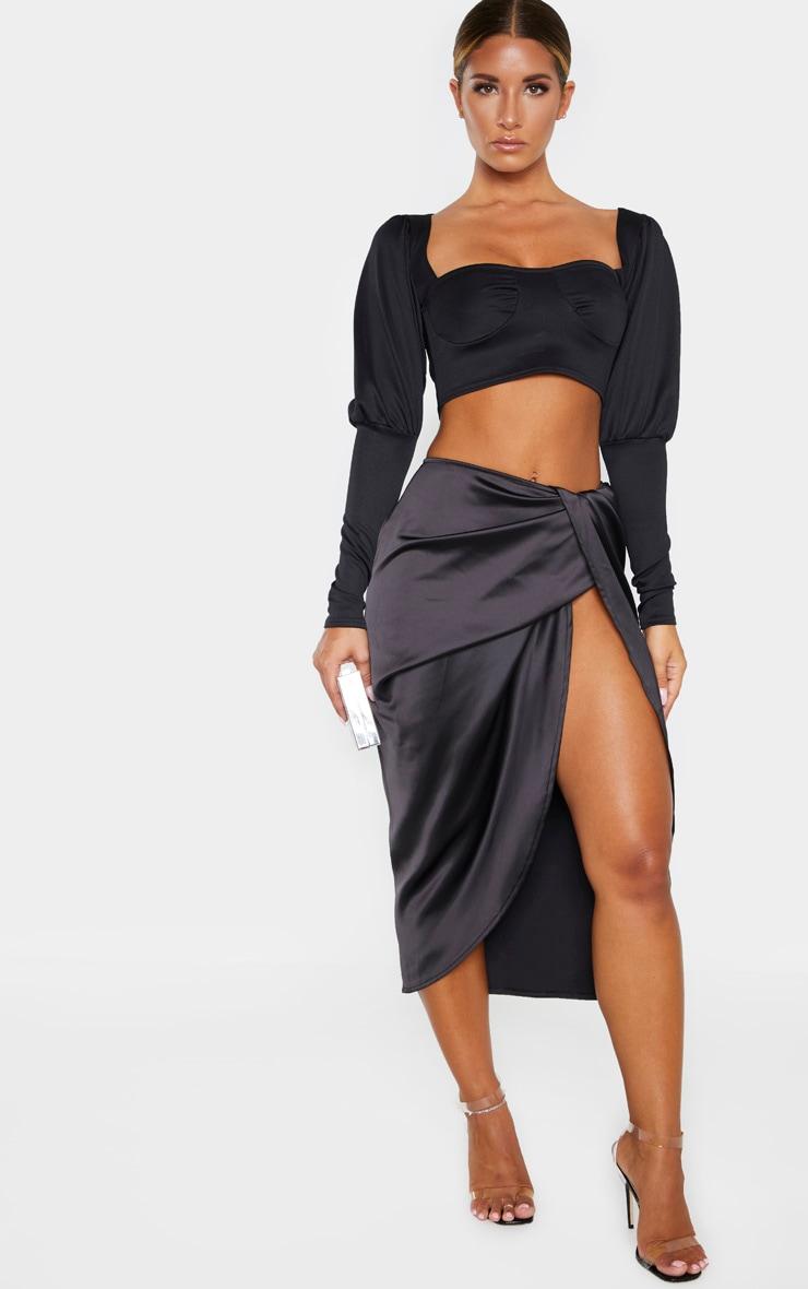 Black Satin Twist Front Midi Skirt 1