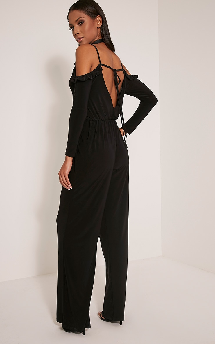 Krisha Black Frill Detail Cold Shoulder Jumpsuit 4