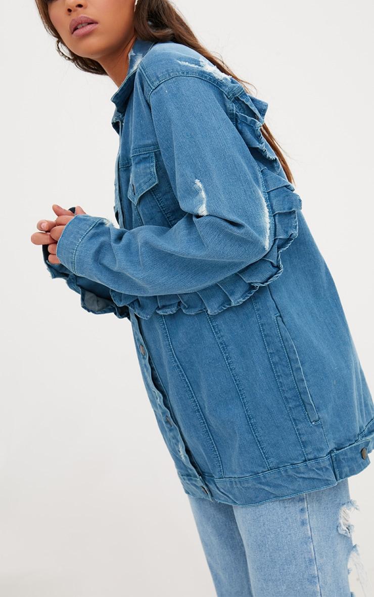 Mid Wash Frill Detail Denim Jacket  5