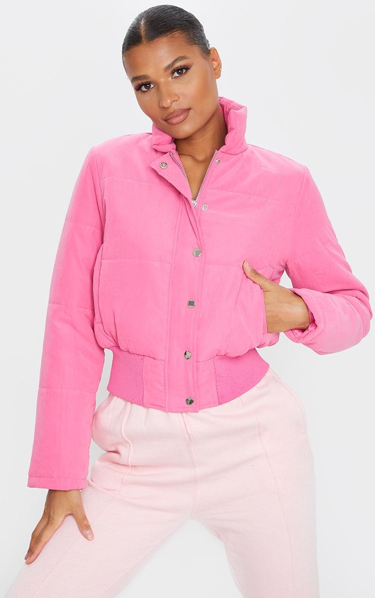Pink Peach Skin Cropped Puffer Jacket 1