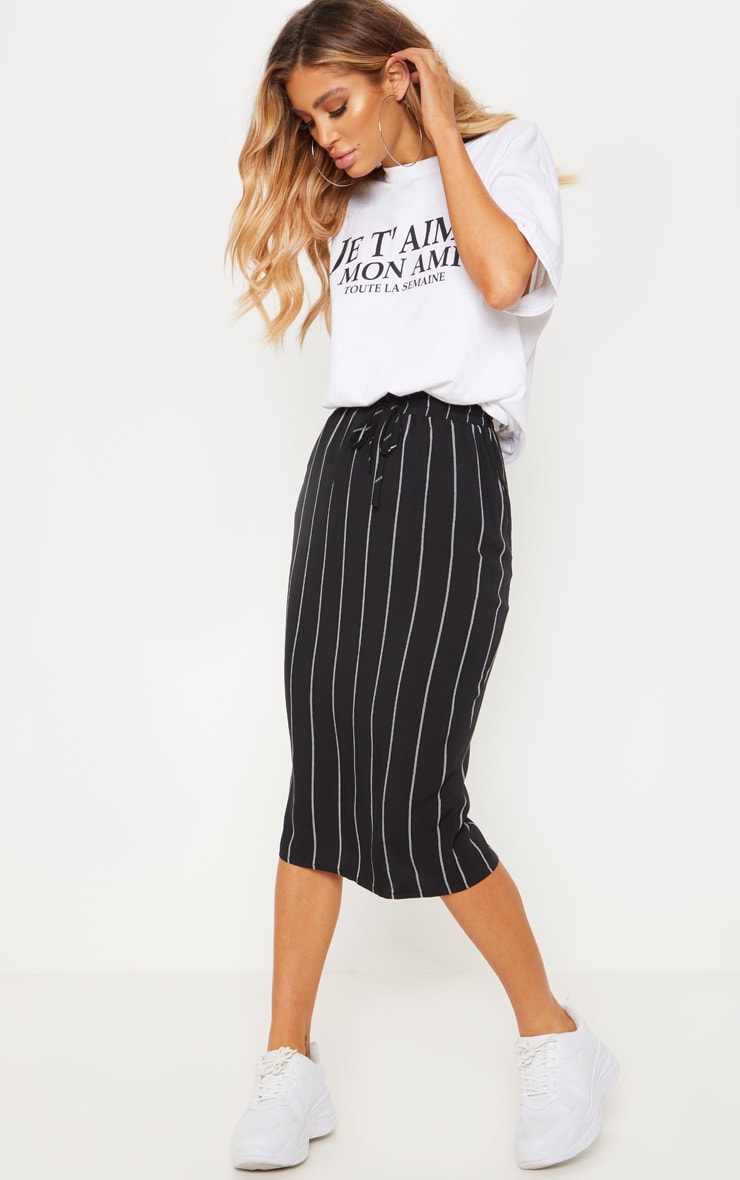 Black Casual Midi Skirt 1