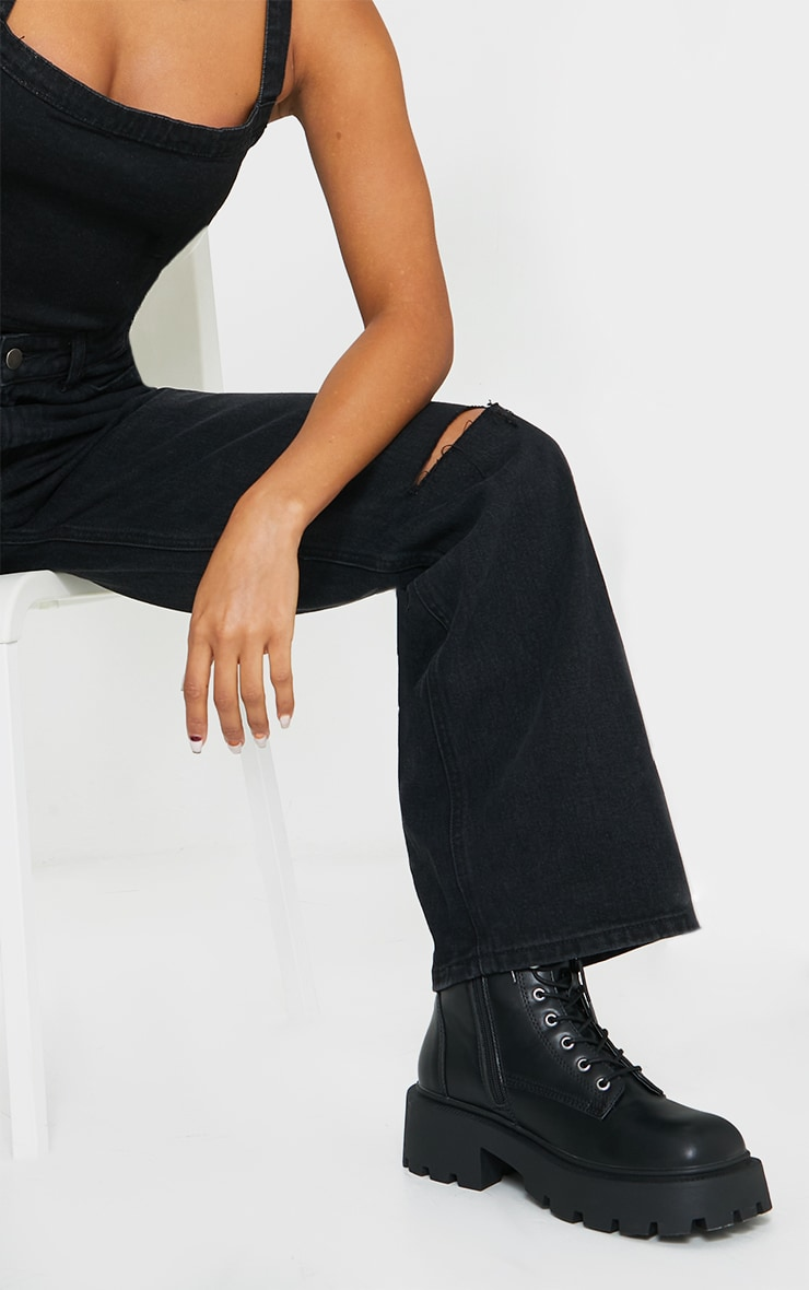 Washed Black Knee Rip Wide Leg Jeans 4