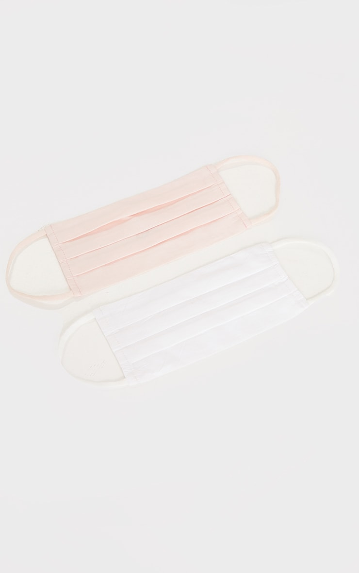 Baby Pink And White Cotton Two Pack Face Masks 1