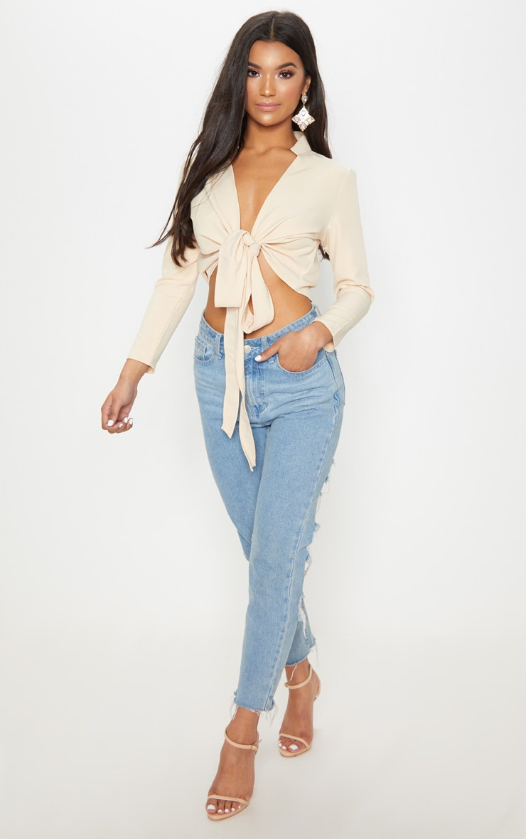 Blanche Stone Tie Front Long Sleeve Crop Blouse 1