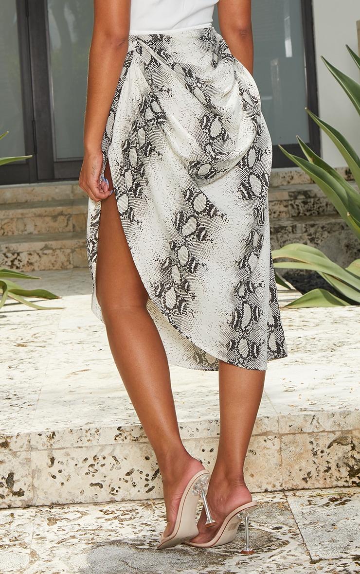 Grey Snake Ruched Side Midi Skirt 3