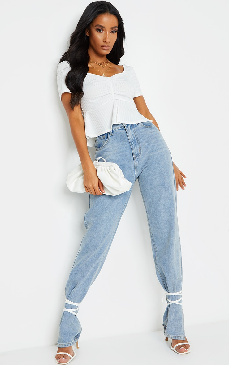 White Frill Hem Ruched Crop Top 3